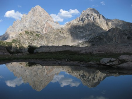 The Grand (left) and Middle (right) tetons as viewed from a small lake south of Table Mtn