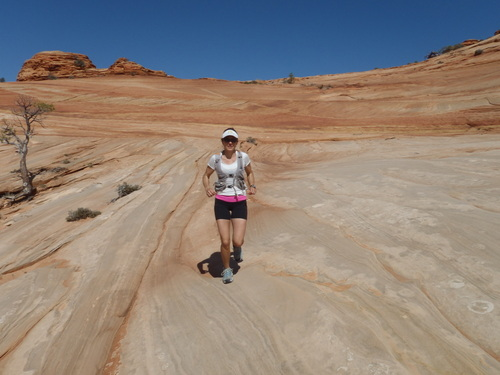 Mindy slab-running in upper Water Canyon.