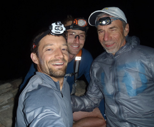 The Zironman team atop North Guardian Angel at 1:18 AM