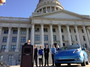 Speaking at the Utah Capitol building about EVs.
