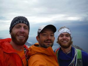 On top of the Grand Teton with buds Ty Draney and Luke Nelson just before a rainstorm hit.