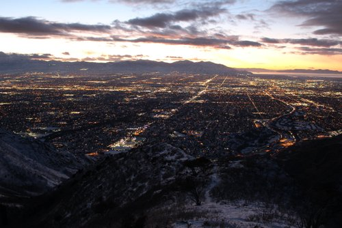 Salt Lake City on a clear night shot from part-way up Grandeur Peak.  January 2014, Jared Campbell