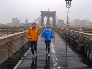 Running across the Brooklyn Bridge