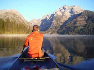 Paddling across Leigh Lake.
