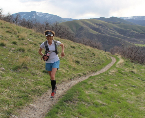 The incredible Emily Sullivan, cranking uphill about halfway through the course.