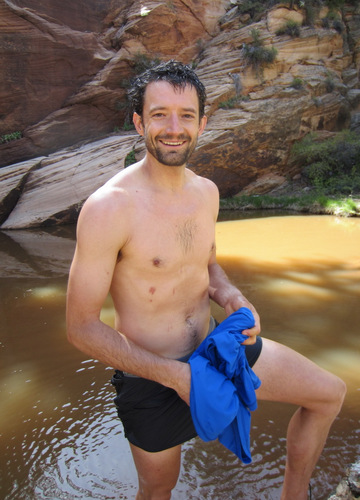 Very happy after a swim with the desert frogs
