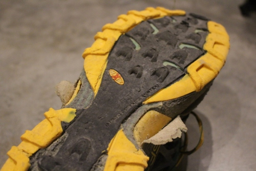 Fairly beat up La Sportiva Bushidos.