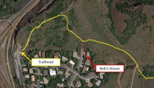 Trailhead relative to Bob's House
